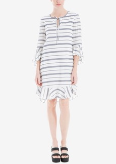 Max Studio London Striped Ruffle-Trim Dress