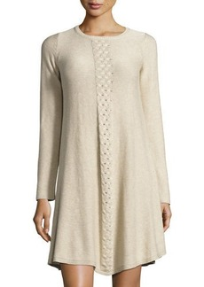Max Studio Long-Sleeve Braided-Center Sweaterdress