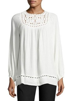Max Studio Long-Sleeve Embroidered-Cut Top