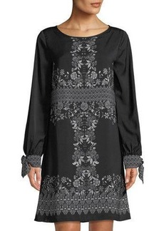 Max Studio Long-Sleeve Floral Shift Dress