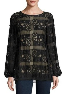 Max Studio Long-Sleeve Lace Blouse