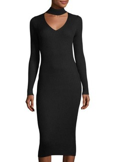 Max Studio Long-Sleeve Ribbed Sweaterdress