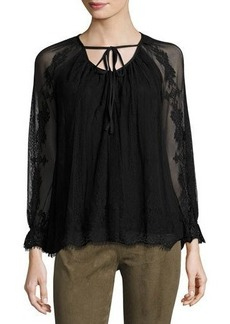 Max Studio Long-Sleeve Tie-Neck Lace Blouse