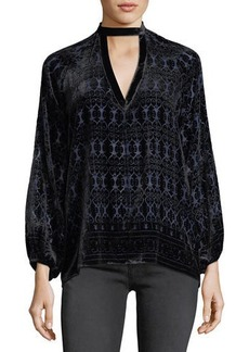 Max Studio Long-Sleeve Velvet Choker Blouse