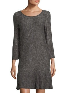 Max Studio Marled Flare-Sleeve Sweater Dress