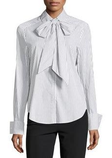 Max Studio Neck-Tie Striped Cotton Blouse