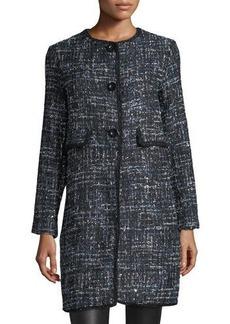 Max Studio Novelty Tweed Long Jacket