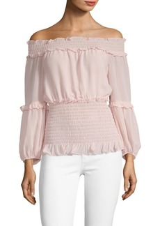 Max Studio Off-Shoulder Smocked Top