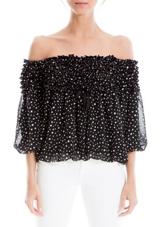 Max Studio Off-Shoulder Tiered Polka-Dot Bubble Top