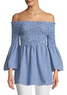 Max Studio Off-The-Shoulder Bell-Sleeve Gingham Blouse