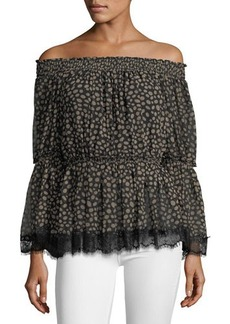 Max Studio Off-The-Shoulder Chiffon Blouse