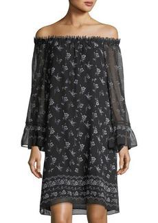 Max Studio Off-the-Shoulder Floral-Print Dress