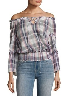 Max Studio Off-the-Shoulder Plaid Gauze Top