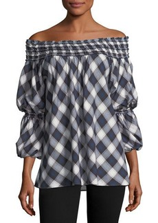Max Studio Off-the-Shoulder Plaid Voile Blouse