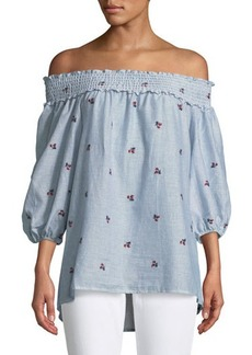 Max Studio Off-The-Shoulder Rose-Embroidered Blouse