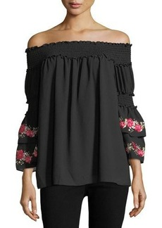 Max Studio Off-the-Shoulder Smocked Blouse