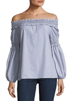Max Studio Off-the-Shoulder Smocked Shirt