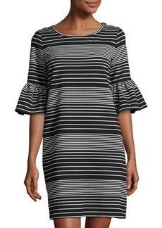 Max Studio Ottoman Stripe Flutter-Sleeve Dress