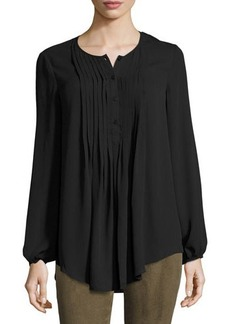 Max Studio Pintucked Georgette Blouse