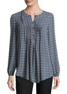 Max Studio Pintucked Printed Blouse