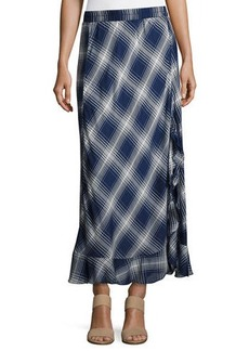 Max Studio Plaid Flounce-Hem Maxi Dress