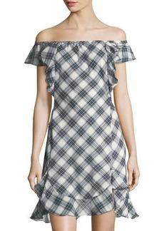 Max Studio Plaid Off-the-Shoulder Dress