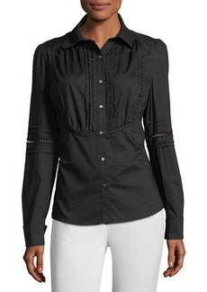 Max Studio Pleat-Bib Button-Down Blouse