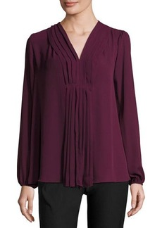 Max Studio Pleat-Front Long-Sleeve Blouse