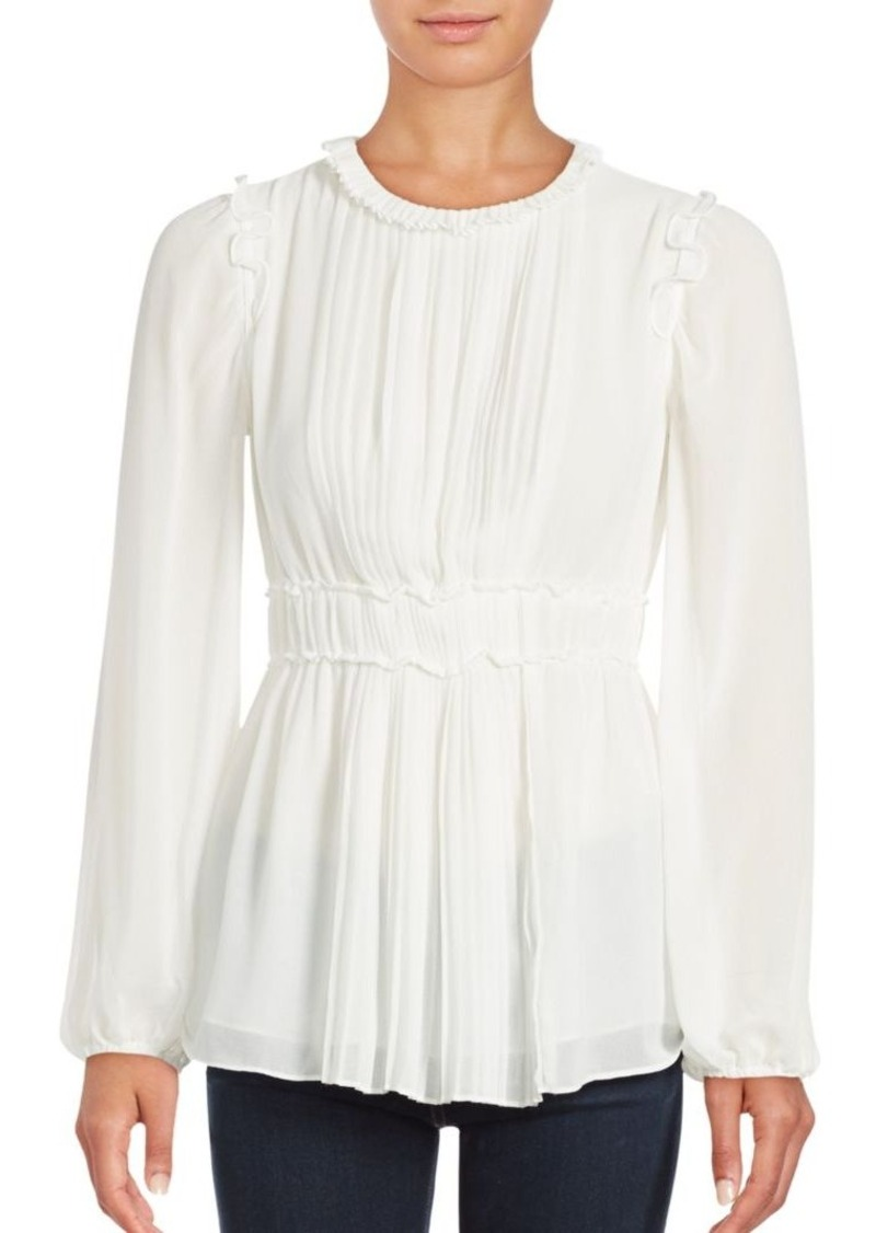 Max Studio Pleated Bell Sleeve Blouse