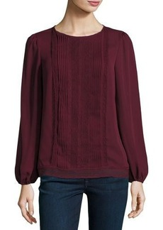 Max Studio Pleated-Bib Long-Sleeve Top