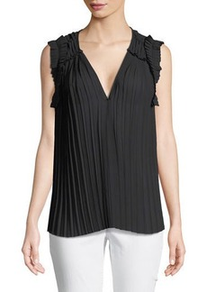 Max Studio Pleated Cap-Sleeve Blouse