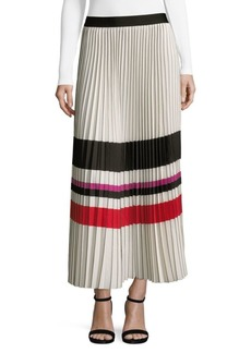 Max Studio Pleated Crepe Midi Skirt