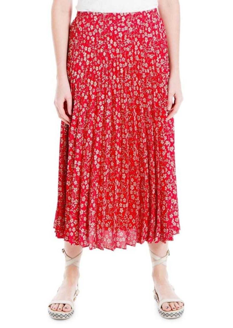 Max Studio Pleated Floral Midi Skirt