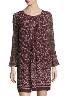 Max Studio Pleated-Front Bell-Sleeve Floral-Print Dress