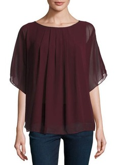 Max Studio Pleated Georgette Poncho Top