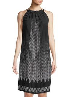 Max Studio Pleated Halter-Neck Shift Dress