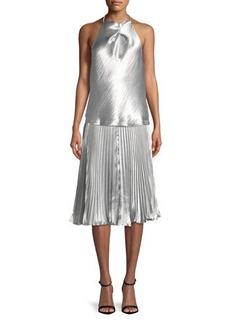 Max Studio Pleated Satin A-Line Skirt