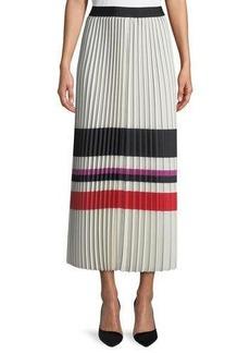 Max Studio Pleated Striped Maxi Skirt