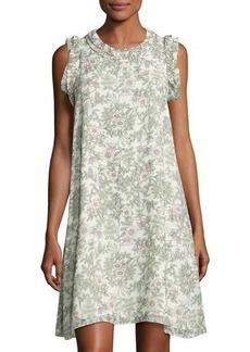 Max Studio Pleated-Trim Floral-Print Georgette Dress