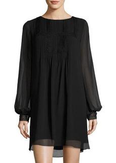 Max Studio Pleated-Yoke Long-Sleeve Shift Dress
