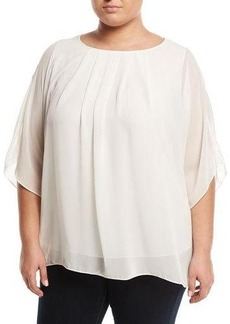 Max Studio Plus Cape-Sleeve Chiffon Blouse