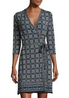 Max Studio Printed 3/4-Sleeve Wrap Dress