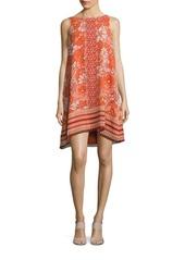 Max Studio Printed Bateau Neck Trapeze Dress