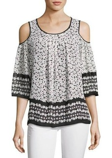 Max Studio Printed Cold-Shoulder Blouse