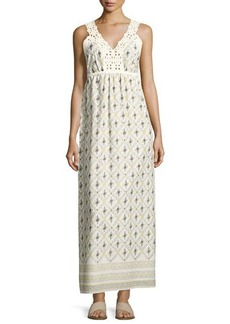 Max Studio Printed Cotton Crepe Maxi Dress