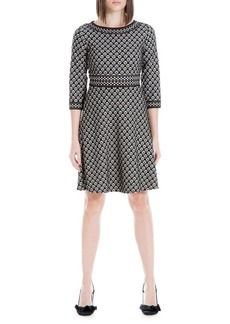 Max Studio Printed Double-Knit A-Line Dress