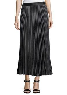 Max Studio Printed-Edge Pleated Maxi Skirt