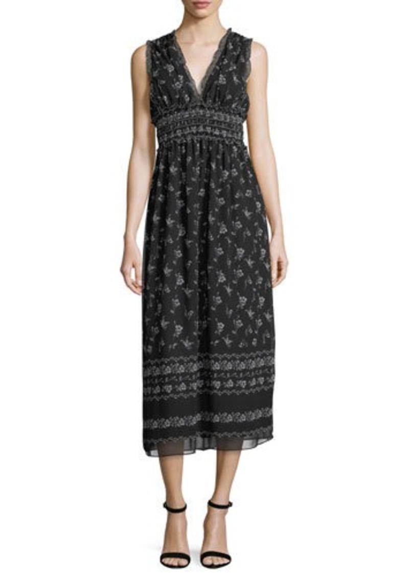 Max Studio Printed Georgette Midi Dress