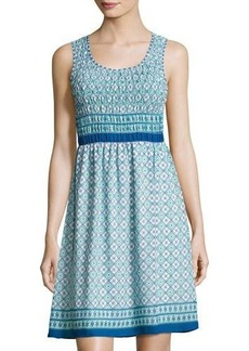 Max Studio Printed-Georgette Smocked-Bodice Dress