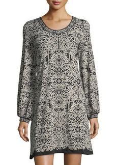 Max Studio Printed Jersey Bell-Sleeve Dress